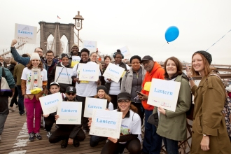Lantern staff and residents on the Brooklyn Bridge during the NAMI Walk for Mental Illness