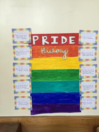 An artwork based on the Universal Declaration of Human Rights, created by Lantern Amber Hall residents for Pride Week