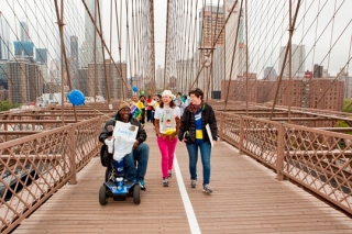 Lantern Executive Director Laura Lazarus on the NAMI walk with a resident and case manager Lara