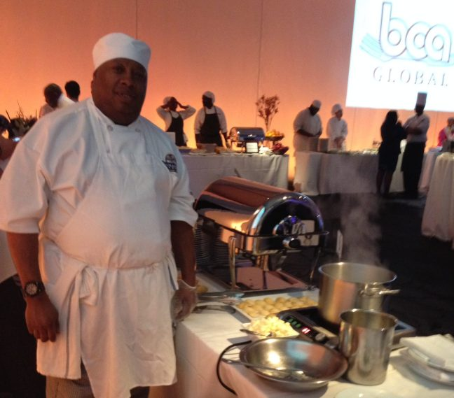 Lantern client Daryl Williams serves at a BCA event, as part of his Culinary Arts course