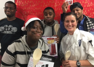 Food 4 Life participants pose with Chef Seana and their gifts