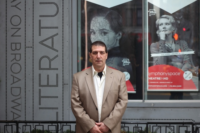 Lantern resident Bruce Mangio outside his employer, Symphony Space