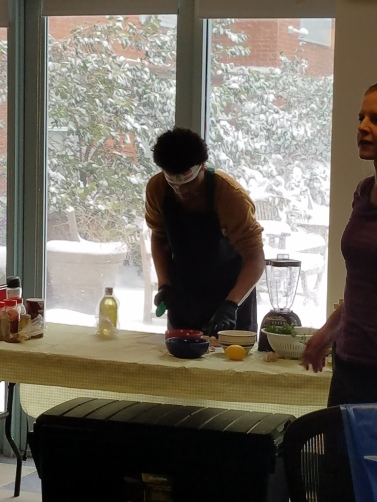 Healthy food being prepared for the winter fitness challenge