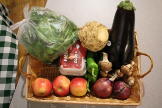 A typical fresh food box, for one resident for a week